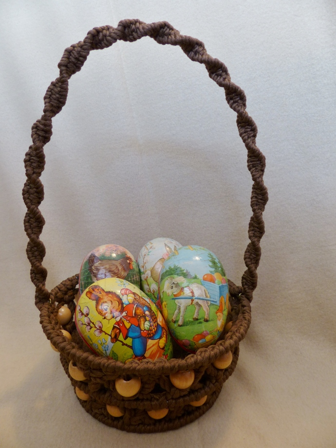 Easter basket Macrame basket Brown basket Holiday decoration Room decoration