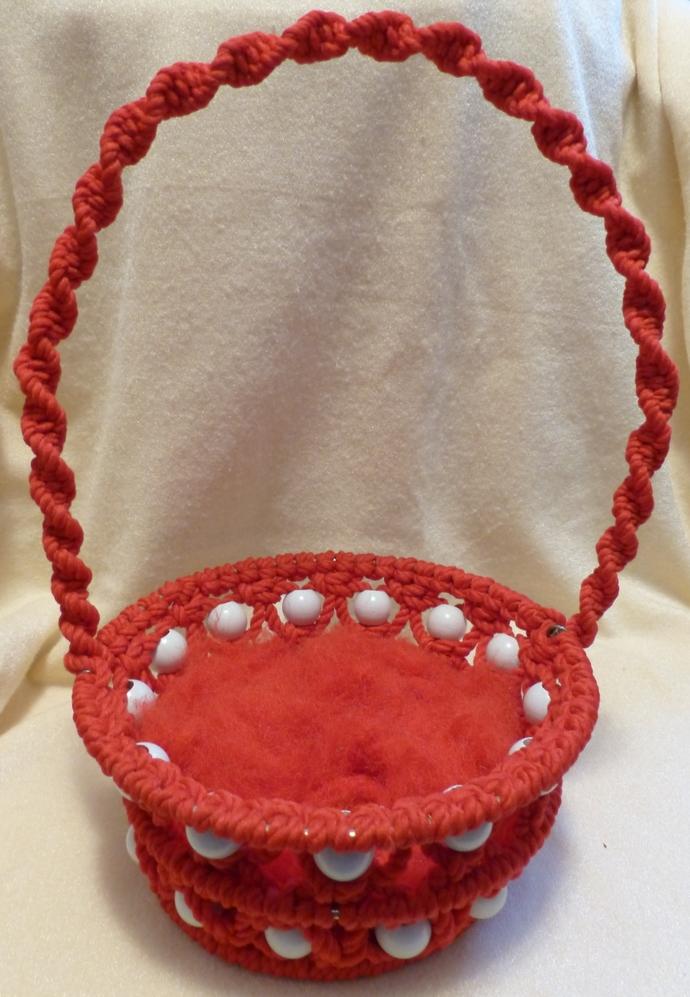 Easter basket Macrame basket Red basket Holiday decoration Room decoration