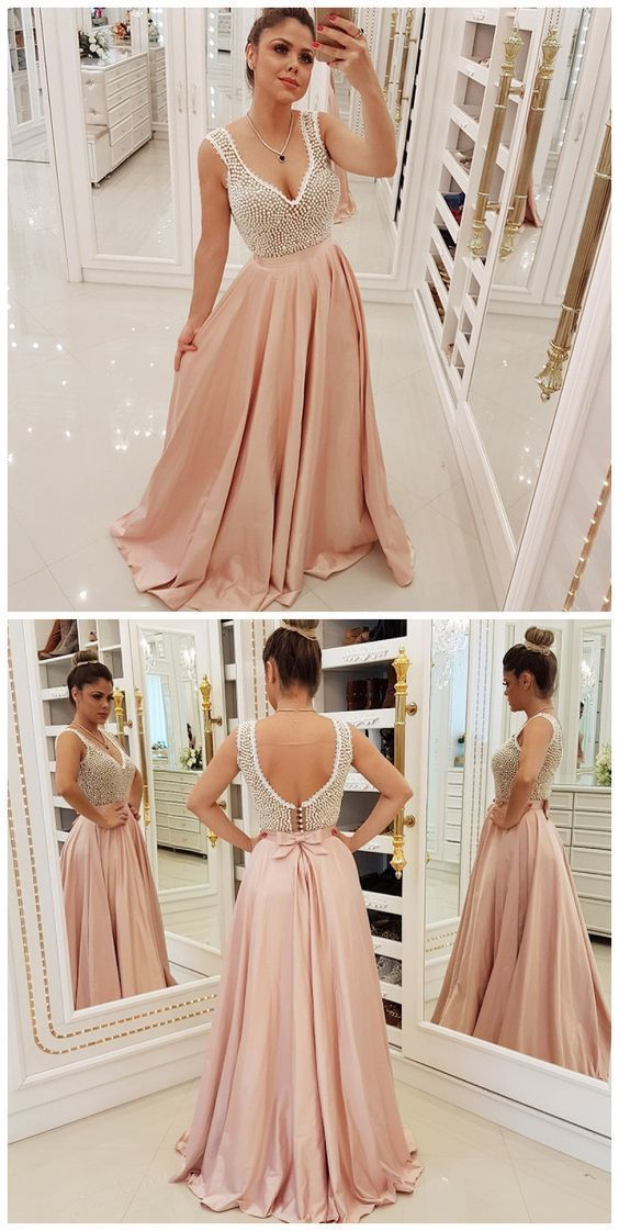 A-Line V-Neck Backless Pink Beaded Prom Dress,Cheap Prom Dress,Sexy Party