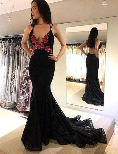 Mermaid Black Backless Long Prom Dress, Deep V Neck Evening Dress With