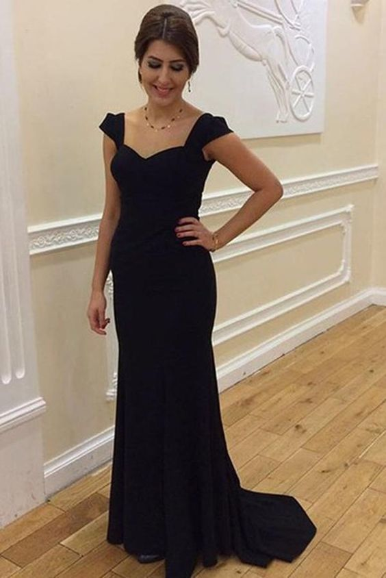 Simple Black Sweetheart Sleeveless ,Cheap Prom Dress,Sexy Party Dress,Formal