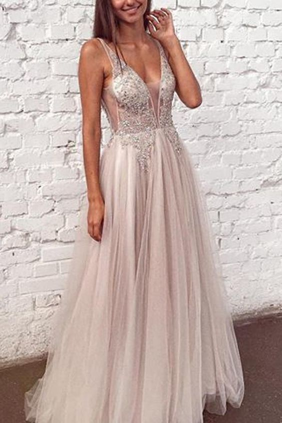 Beaded Tulle V Neck Formal Dress Long Prom Dress,Cheap Prom Dress,Sexy Party