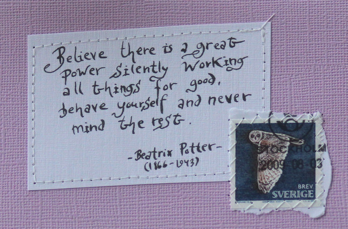 Believe there is a great power... - Beatrix Potter Pale lilac card with
