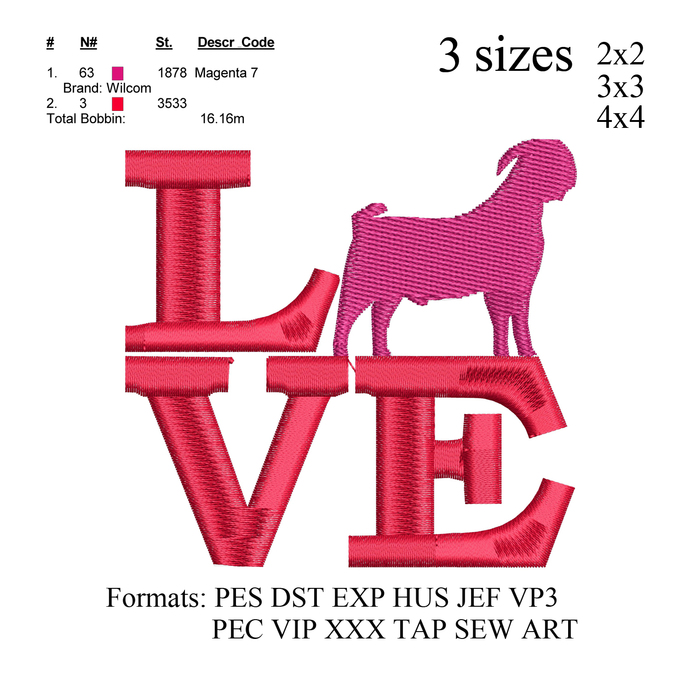 Boer Goat Love embroidery design,motif de broderie chevre, embroidery pattern,