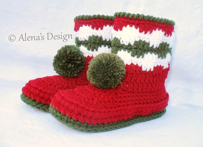 Christmas Toddler Pom-Pom Booties Crochet Pattern 028  Boys Girls Children