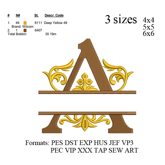 Regal Split monogram letter A embroidery design, embroidery pattern 3 sizes No