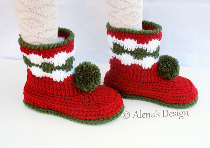 Christmas Boots For Girls.Christmas Children S Pom Pom Boots Crochet Pattern 066 Christmas Boots Boys Girls Child Winter Red Boots Slippers Christmas Decoration
