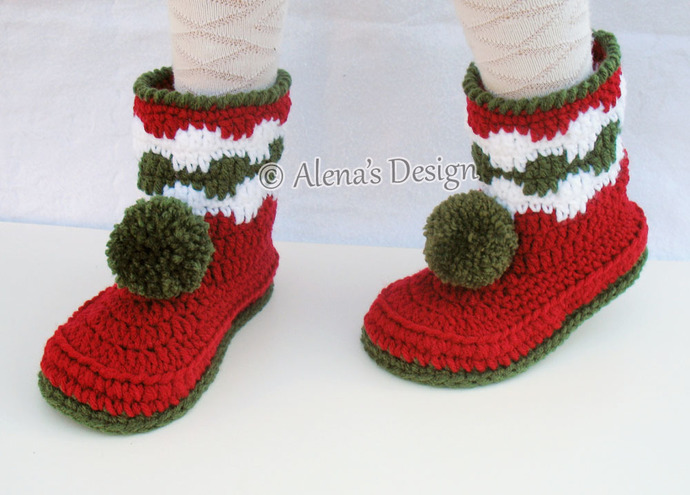Christmas Children's Pom-Pom Boots Crochet Pattern 066 Christmas Boots Boys