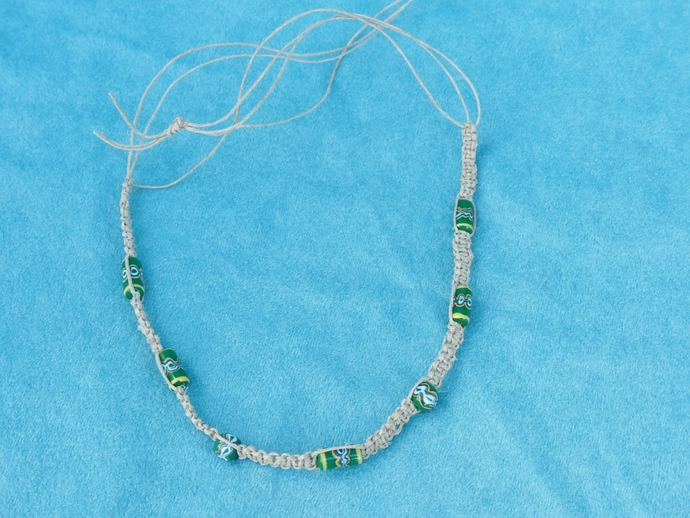 macramé necklace, macramé choker, hemp necklace, ceramic beads, gift for women,