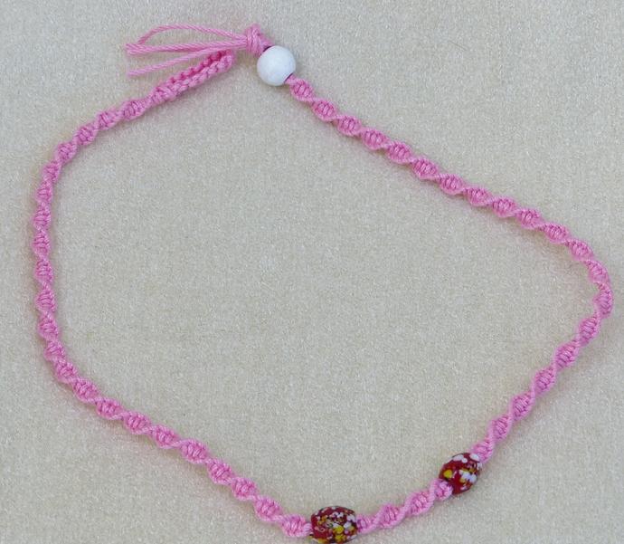 macramé necklace, macramé choker, pink yarn necklace, ceramic beads, gift for