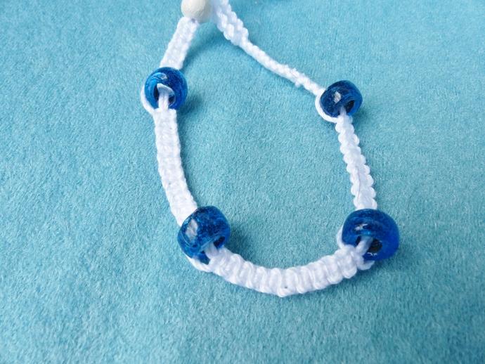 macramé bracelet, white yarn bracelet, ceramic beads, gift for women, gift for