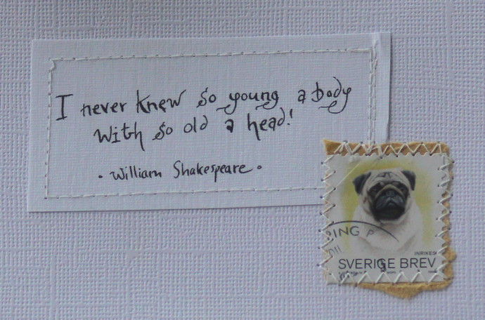 I never knew so young a body with so old a head - Shakespeare - Pale card with