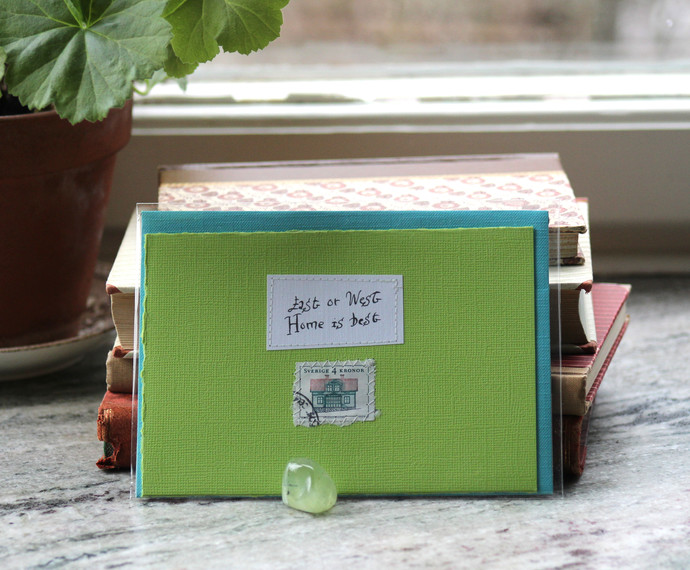 East or west Home is best - Apple green card with handwritten quote and Swedish