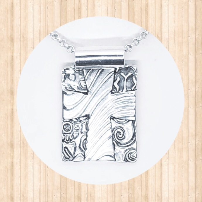 Fine Silver Mosaic Cross Pendant