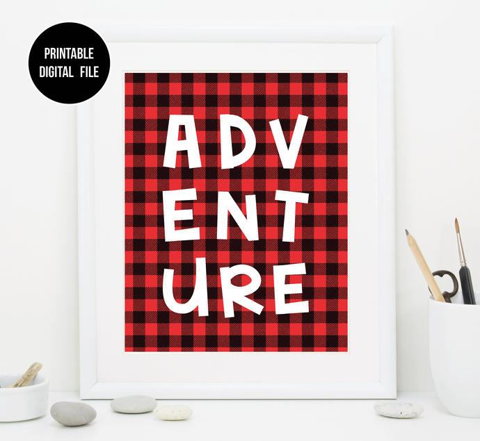 Buffalo Plaid Playroom Nursery Decor | Playroom Adventure Printable art |