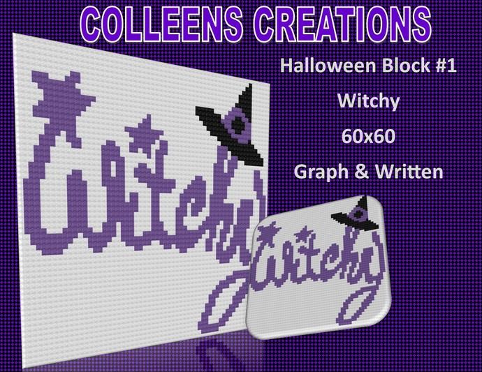 Witchy Block or Pillow Crochet Written and Graph Design