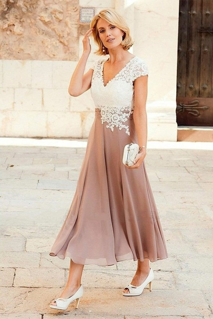 V-neck Chiffon Cap Sleeve Mother of the Bride Lace Dress