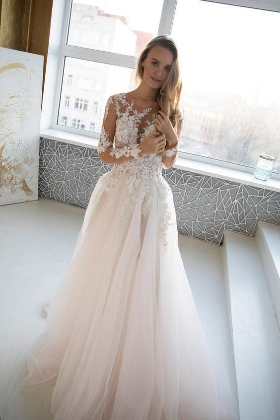 Long Sleeve Illusion Appliques Tulle Wedding Dresses, Sexy Bridal Dresses