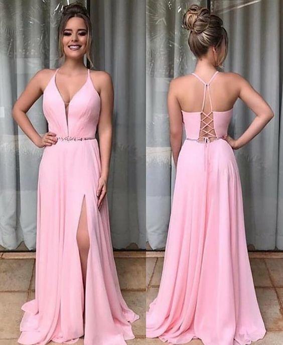 Charming Pink Chiffon Evening Dress, Sexy A Line Bridesmaid Dress with Slit