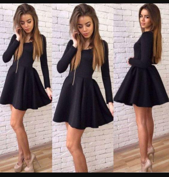 44689853fe5 elegant short black long sleeves prom dress