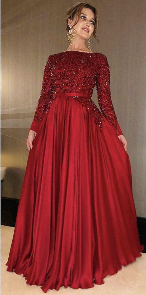 Elegant Long Sleeve Wine Red A Line Mother Bride Dress for Wedding, Beaded