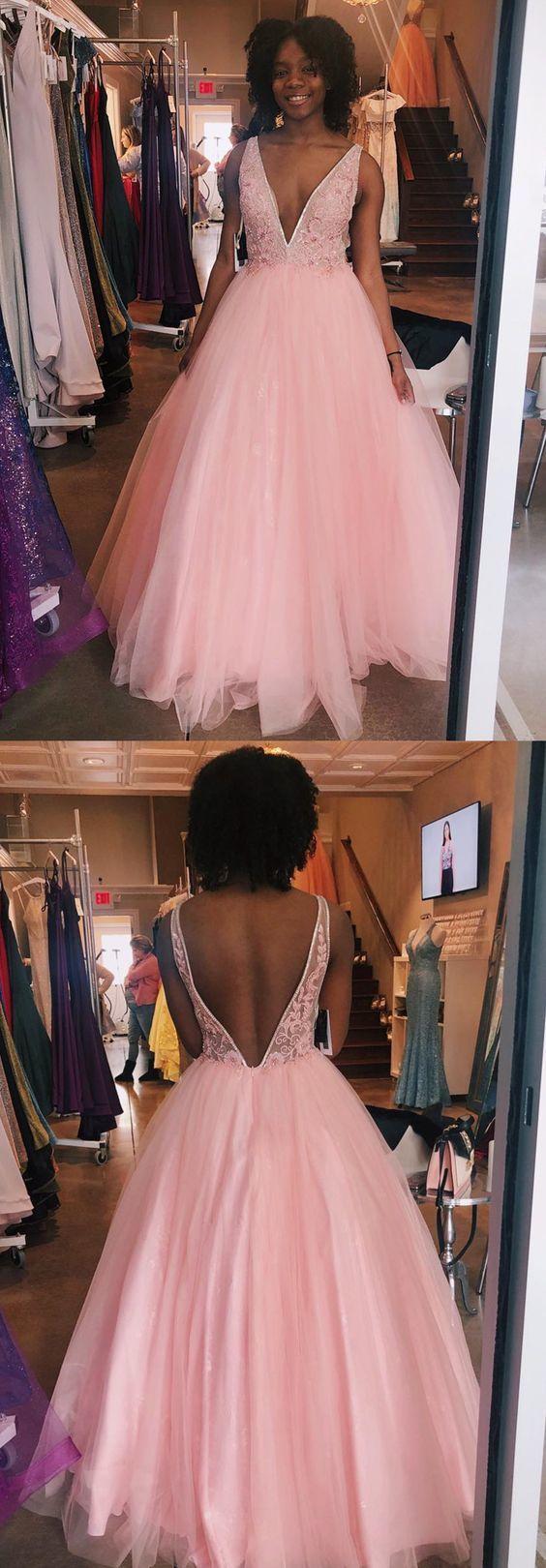 Princess Deep V Neck Pink Long Prom Dress Ball Gown, Sweet 16 Dress