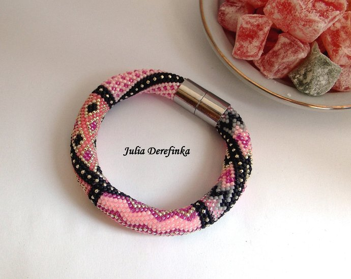 Heart love Pink and grey Bead crocheted tribal bracelet Exquisite boho jewelry