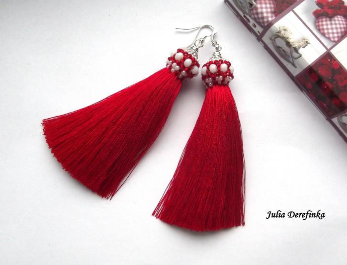 Long red white tassel earrings - long beaded earrings - two color tassel