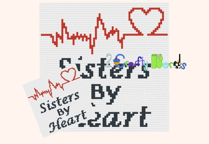 Sisters By Heart Pillow Pattern Graph With Single Crochet Written