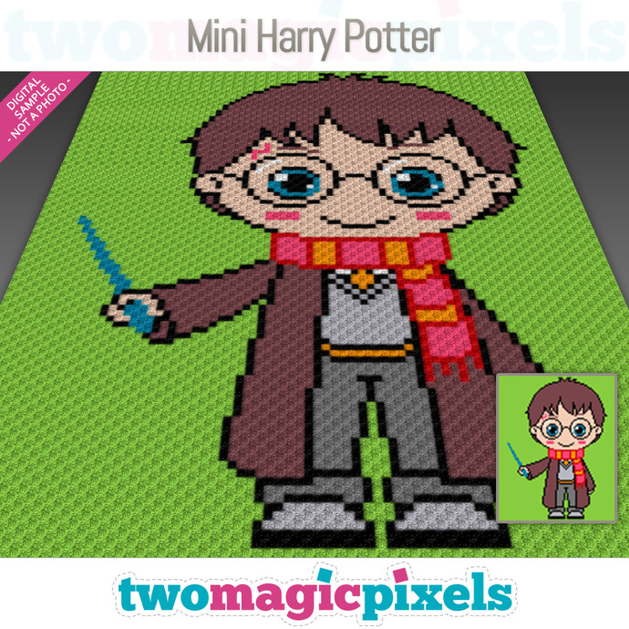 Mini Harry Potter crochet graph (C2C, Mini C2C, SC, HDC, DC, TSS), cross  stitch