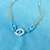 Macrame choker necklace, white waxed linen with blue and white beads, choker,