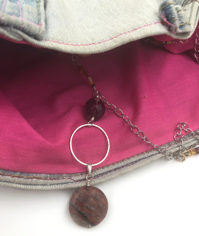 Asymmetrical Silver Hoop Bead and Metal Mix Necklace