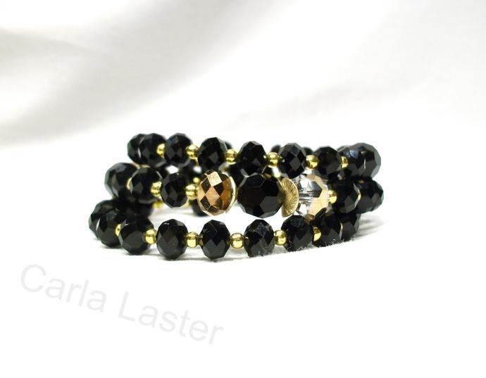 Black and gold bracelet, memory wire bracelet, elegant bracelet, special