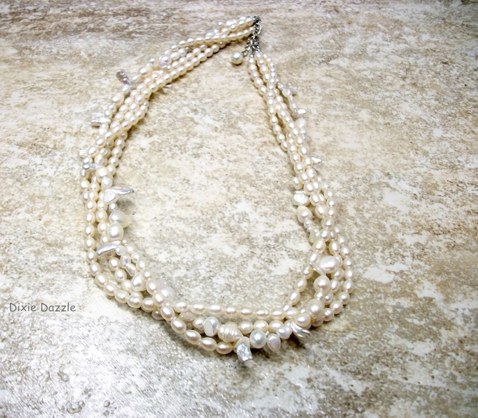 Freshwater pearl necklace, creamy white pearl necklace with various shapes and