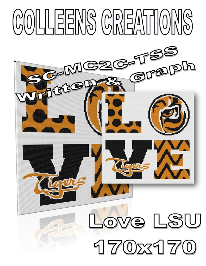 Love LSU Crochet Written and Graph Design
