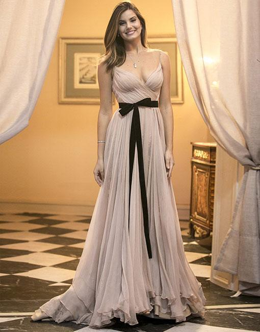 Champagne v neck long prom dress, champagne evening dress Prom Gowns, Formal