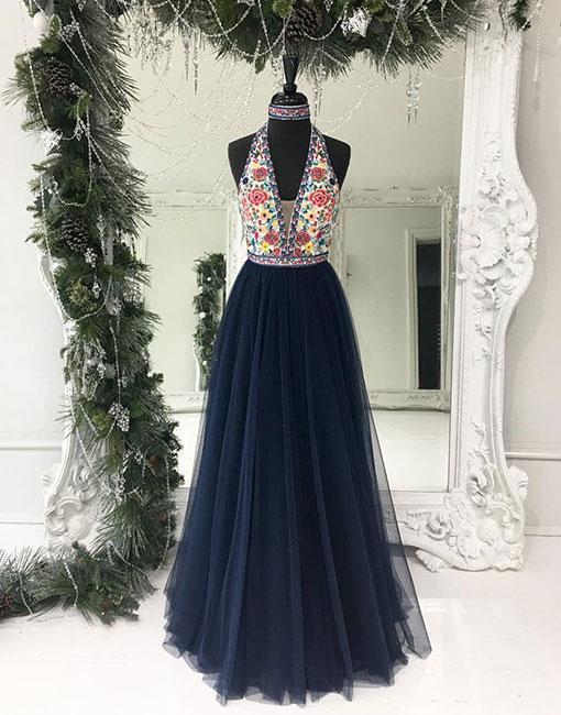 Dark blue tulle long prom dress, blue evening dress
