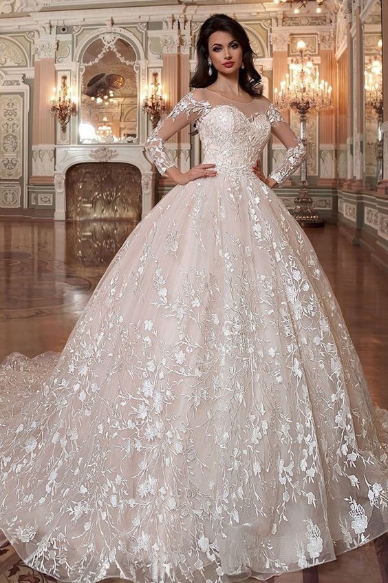 29be578475f Attractive Tulle   Organza Scoop Neckline Ball Gown Wedding Dress With Lace