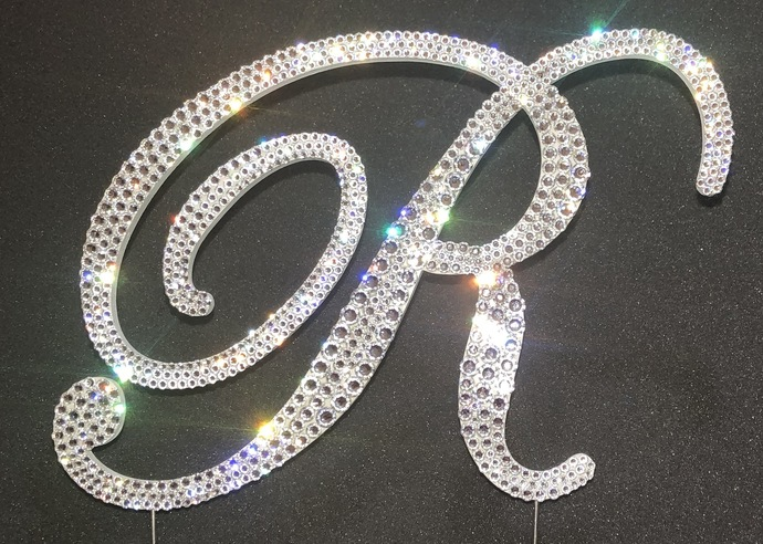 Custom Bling Monogram Wedding Cake Topper covered with genuine crystals from