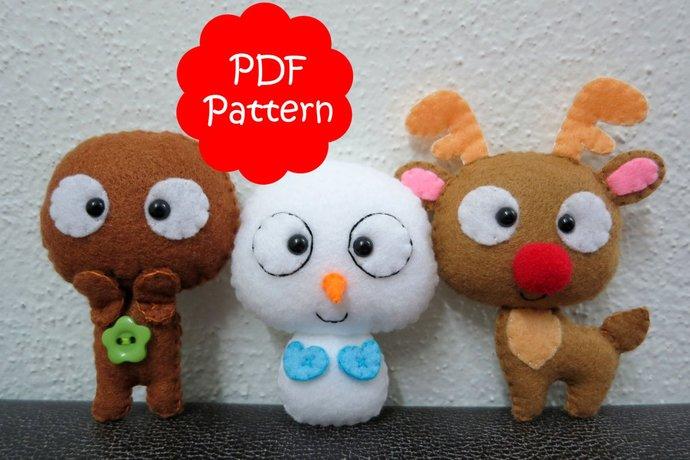 Christmas Set (Gingerbread, Reindeer, Snowman) Plush PDF Pattern -Instant