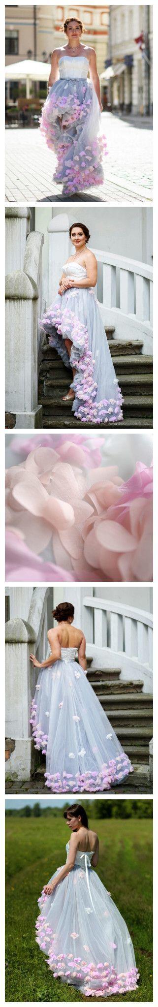 Beading Tulle Prom Dress,High Low Prom Dresses,Prom Dresses,Evening Dress,