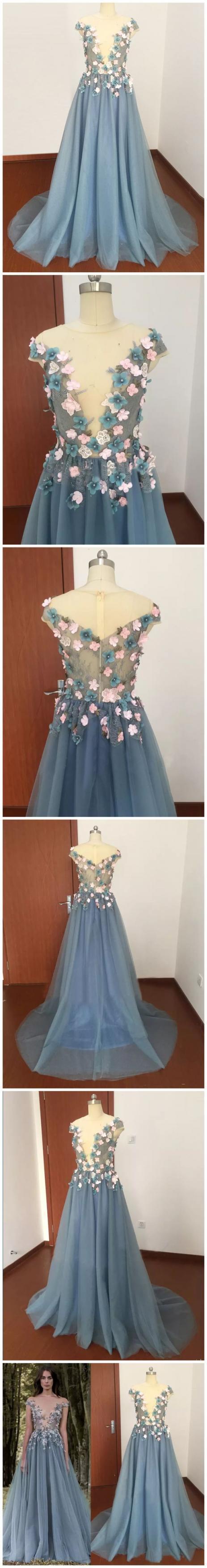 Appliques A-Line Prom Dress,Long Prom Dresses,Prom Dresses,Evening Dress,