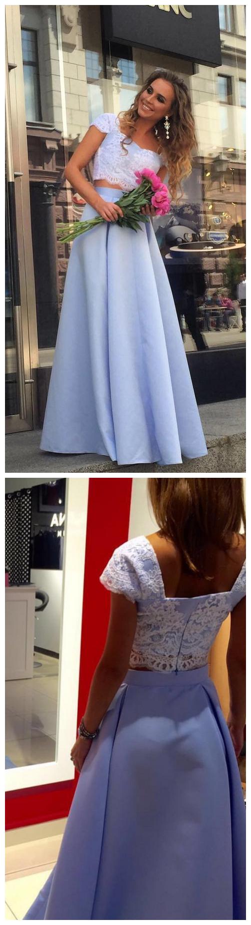 Charming Lace Prom Dress, Sexy Blue Prom Dress, Short Sleeve Long Evening Dress
