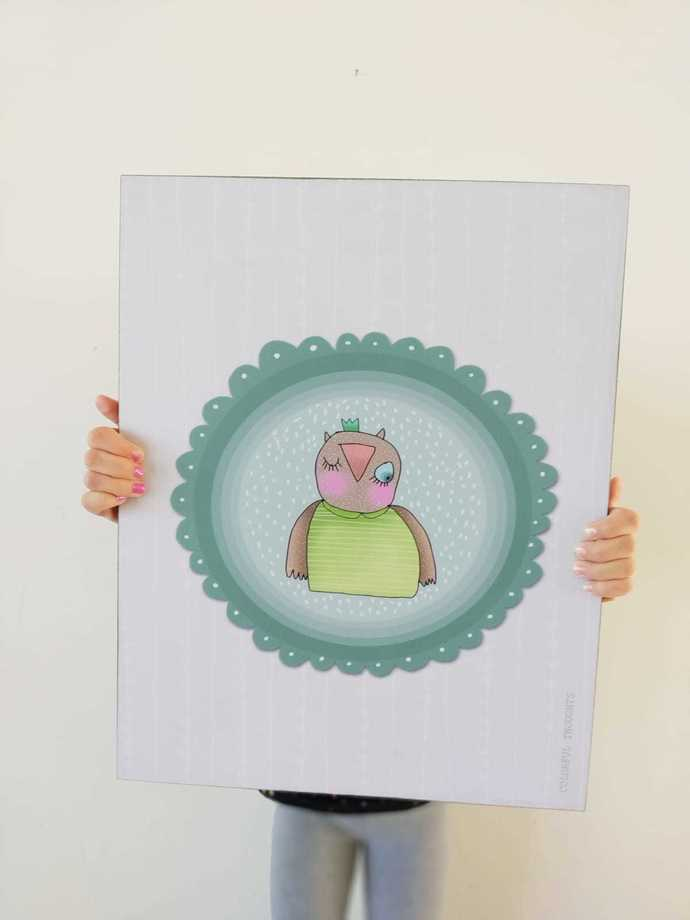 Printed illustration on wood with lamination -The Owl