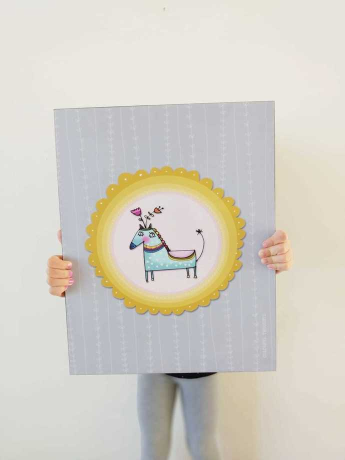 Printed illustration on wood with lamination -The Horse