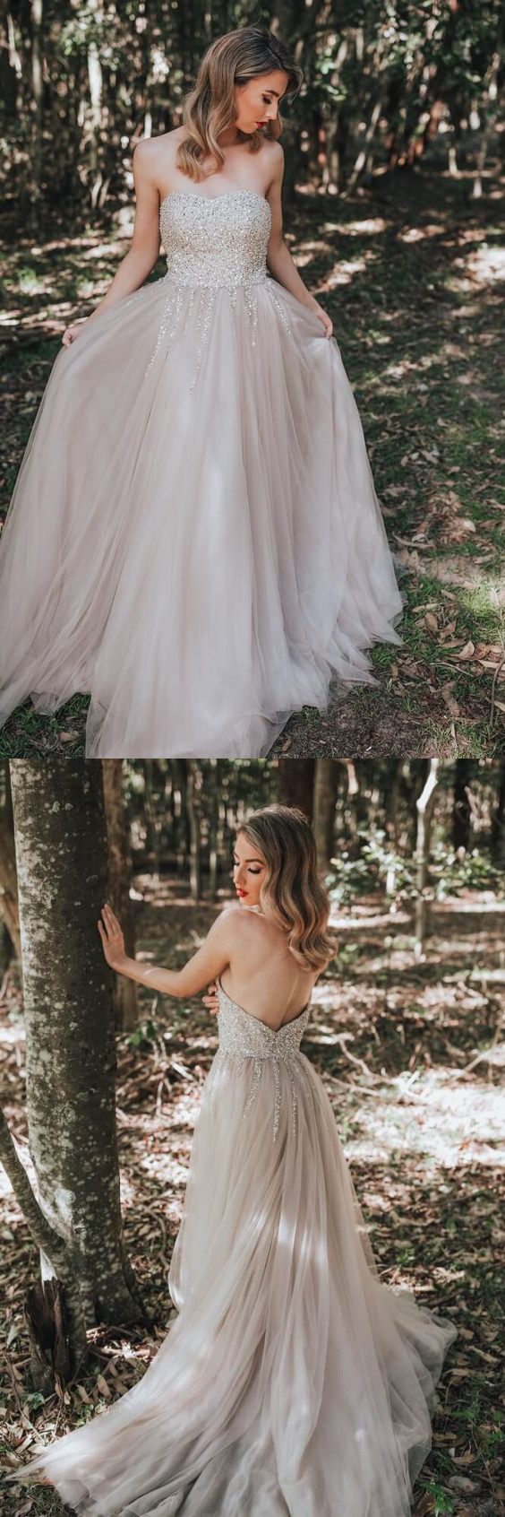 A-line Sequined Tulle Wedding Dress with Train Custom Made Bridal Dress