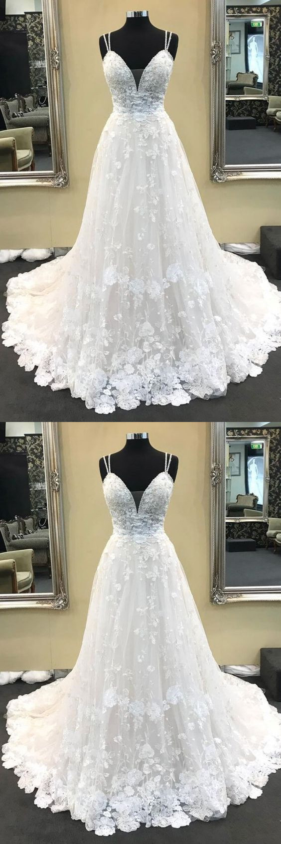 Ball Gown V Neck Spaghetti Straps White Lace Long Wedding Dresses