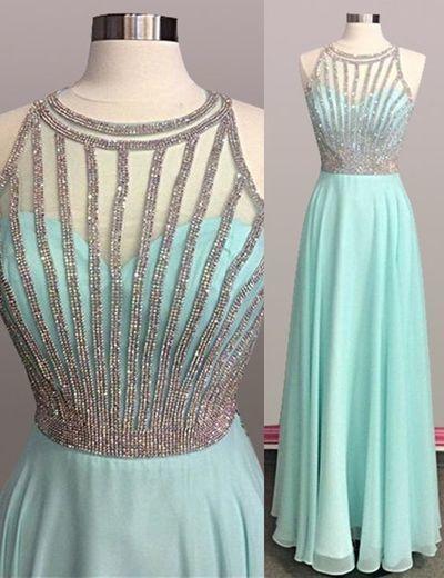 Pretty Jewel Sleeveless Floor Length Mint Green Prom Dress with Beading