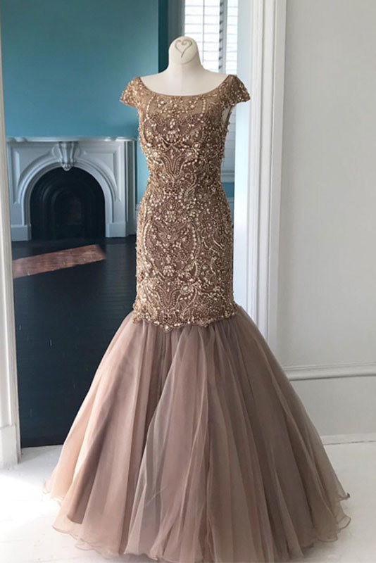champagne round neck tulle sequin beads mermaid long prom dress, champagne