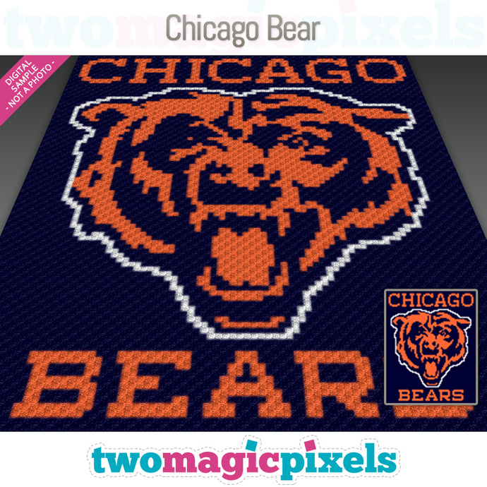 Chicago Bear crochet graph (C2C, Mini C2C, SC, HDC, DC, TSS), cross stitch;